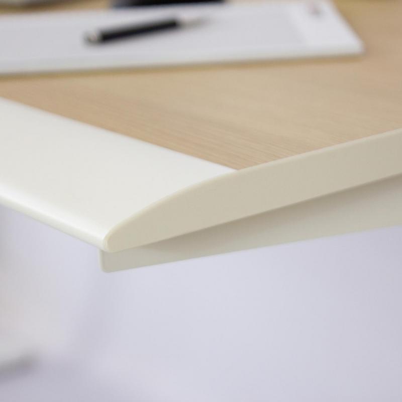 Ergonomická stolová deska, polyuretanová hrana bílá